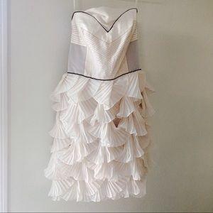 BCBG Max Azria Runway scallop silk strapless dress